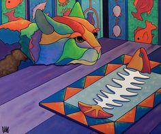 """Fishy Business"" - 40"" x 30"" - Acrylics on Canvas"