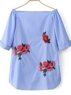 Vestido hombro al aire rayas bordado -azul