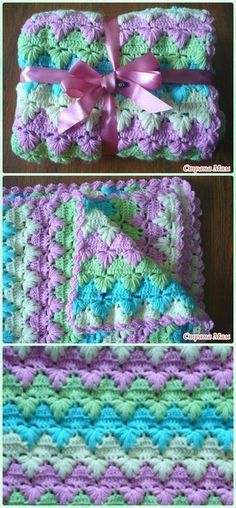 Crochet Puff Spike Stitch Blanket Free Pattern #CrochetBaby