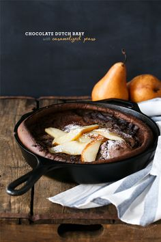 Perfect for a lazy weekend brunch: Chocolate Dutch Baby with Caramelized Pears Scones, Breakfast Recipes, Dessert Recipes, Jelly Recipes, Cast Iron Recipes, Pancakes And Waffles, German Pancakes, Cast Iron Cooking, Tostadas