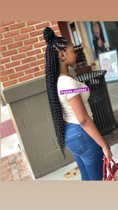 Half up, half down bohemian stitch braids. Half up, half down bohemian stitch braids. Feed In Braids Hairstyles, Braided Ponytail Hairstyles, Braided Hairstyles For Black Women, African Hairstyles, Feed In Braids Ponytail, Kid Hairstyles, Bridal Hairstyles, Black Hairstyles, Black Girl Braids