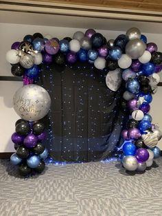 Maryett C's Birthday / Land on the Moon - Photo Gallery at Catch My Party Birthday Balloon Decorations, Birthday Balloons, Birthday Party Decorations, Bday Party Ideas, 21 Party, 18th Birthday Party, Sweet 16, Galaxy Balloons, Ornament Wreath