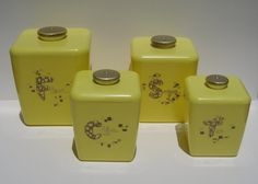 Vintage Kitchen Canister Set Retro Yellow by TheVintageResource, $38.00