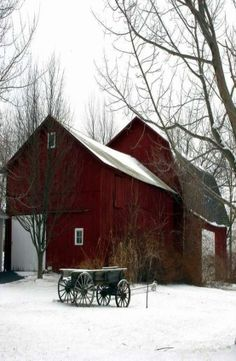 ~love old barns~country red barn & wagon~