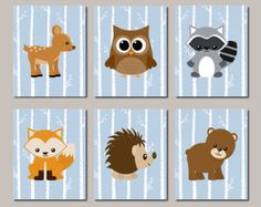 WOODLAND Nursery Wall Art, Woodland Decor, Birch Wood, Forest Animals, Carter…