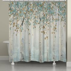 A beautiful light blue forest of birch trees create a serene design for your bathroom. This product is digitally printed to create crisp, vibrant colors and images. Made to order in the USA, with you