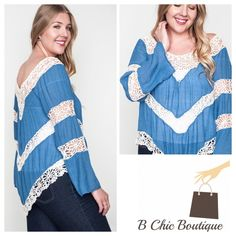 ❗️ONE DAY SALE❗️Plus Size Crochet 3/4 Sleeve Top Super cute and comfy top with crochet details to add a stunning look. Made of cotton blend. B Chic Tops Blouses
