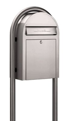 stainless steel modern lockable mailbox and post package 654 - Lockable Mailbox