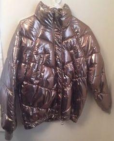 1ff06345 Details about H&M Metallic Gold puffer puffy jacket Hip hop Short Winter  Coat Sz 6 Women