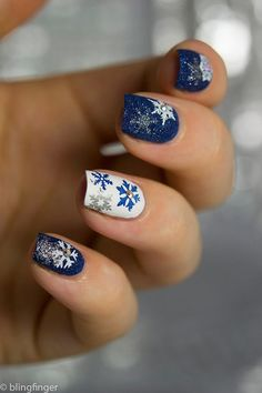 24 Holiday Nail Art Designs to Try This Week -- Stamped Snowflakes: While you could hand paint individual flakes on each finger, there's a tool to get perfect shapes every time. Nail Art Designs 2016, Holiday Nail Art, Simple Nail Art Designs, Christmas Nail Art Designs, Winter Nail Art, Toe Nail Designs, Easy Nail Art, Winter Nails, Snowflake Nail Design