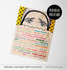 Im sorry personal postcard with text excuse me in several languages of the world. An unusual way to apologize, is suitable for people with a sense of