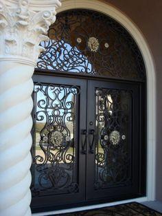Arched Doors, Entrance Doors, Doorway, Mediterranean Doors, Wrought Iron Gates, Metal Gates, Double Doors Exterior, Iron Front Door, Classic House Exterior
