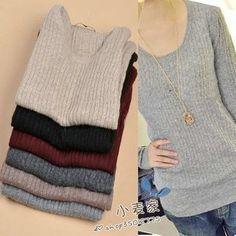 2012 Autumn and Winter New Women's Round Neck Korean Loose Long Sleeve Stripe Leisure Sweater $16.95