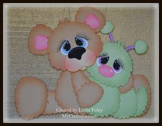 Sitting Bear and Bug Premade Scrapbooking by MyCraftopia on Etsy