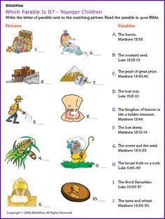 Which Parable Is It? (Younger Children) - Kids Korner - Biblewise e h g j a… Bible Activities For Kids, Bible Study For Kids, Bible Lessons For Kids, Kids Bible, Class Activities, Sunday School Kids, Sunday School Lessons, Sunday School Crafts, Parables Of Jesus