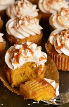 Carrot cake is a must-make dessert to make in the spring and these new Salted Caramel Carrot Cake Cupcakes will be the twist you will fall in love with. Carrot Cupcake Recipe, Carrot Cake Cupcakes, Cupcake Recipes, Dessert Recipes, Salted Caramel Cupcakes, Caramel Chocolate Chip Cookies, Good Desserts To Make, Wacky Cake, Moist Carrot Cakes