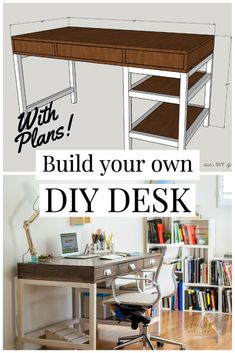 Learn how to build this simple DIY desk with drawers and shelves. It has lots of storage space and is the perfect modern farmhouse addition. Easy beginner-friendly build with the tutorial, plans and video. #anikasdiylife #diydesk #woodworkingproject Small Woodworking Projects, Awesome Woodworking Ideas, Scrap Wood Projects, Diy Furniture Projects, Diy Woodworking, Woodworking Furniture, Diy Projects, Furniture Refinishing, Project Ideas