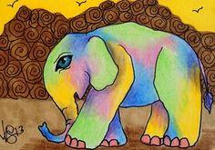 "Aceo Original ""TIE DYED BABY ELEPHANT"" ON EBAY"