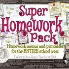 An entire school year of differentiated homework menus and printables!  Purchasers of the Super Homework Pack will receive monthly homework menus a...