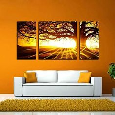 BERDECIA Big Glow Clouds Sunset Landscape Canvas Gold Sun Sinking to Sea with Elephants Under Tree Wall Art Home Decoration Oil Paintings No Frame