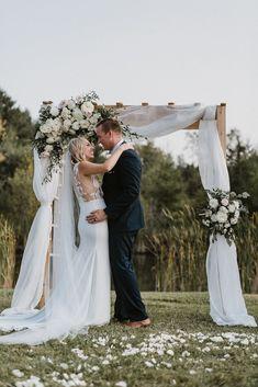 Real Bride Jess wears Wynn WSP 616 by Daalarna from Sash & Bustle - Soft Wedding Dresses, Crepe Wedding Dress, How To Dress For A Wedding, V Neck Wedding Dress, Luxury Wedding Dress, Unusual Dresses, Princess Bridal, Bustle, Bridal Style