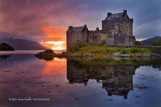 Eilean Donan Castle, Scotland   Eilean Donan Castle is located on a small island in Loch Duich (the western Highlands of Scotland).