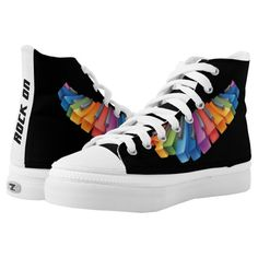 "Colorful Keyboard Rock Star High-Top Sneakers - A cool design for keyboard players and band members, this design features a colorful rainbow keyboard with ""Rock On"" text on the back. You can edit the text with your own words. Sold at DancingPelican on Zazzle."