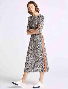 2c7285eb771 Animal Print Half Sleeve Tea Midi Dress