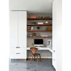 home office com parede estampada - Arkpad                                                                                                                                                                                 Mais