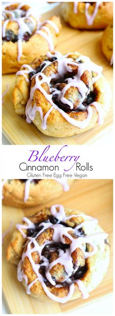 Gluten Free Blueberry Cinnamon Rolls Recipe (Gluten Free Vegan dairy free egg free)- Soft and sweet gluten free cinnamon buns with real blueberries. Hard to believe they are dairy free and food allergy friendly too!,