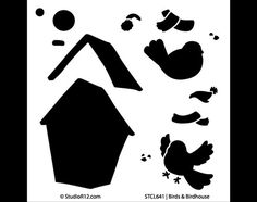 Bird and Birdhouse   Art Stencil  6 x 6  by StudioR12 por StudioR12