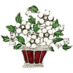 Red Green Enamel, Pearl & Crystal Christmas Flower Basket Brooch