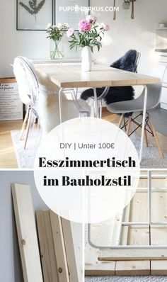 DIY: make the dining room table yourself- DIY: Esszimmertisch selber machen DIY Instructions: the perfect wooden dining table for under 100 € Diy Furniture Table, Wood Furniture, Furniture Design, Repurposed Furniture, Diy Table, Furniture Stores, Furniture Projects, Furniture Plans, Kitchen Furniture