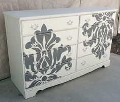 Do you have an old dresser and you ready to get rid of it? Try painting your dresser to give it a whole new life! Check out this dresser with the a damask print. Furniture Projects, Furniture Makeover, Home Projects, Diy Furniture, Furniture Design, Furniture Outlet, Luxury Furniture, Bedroom Furniture, Chair Makeover