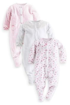 Buy Three Pack White And Pink Frill Sleepsuits (0mths-2yrs) online today at Next: United States of America
