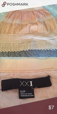 Forever 21 size small tan knit skirt Comes right to the knee. Very comfortable and perfect for summer! Size small with embroidery. Forever 21 Skirts Midi
