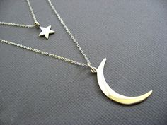 Crescent Moon and Star necklace Moon Necklace I love by Muse411
