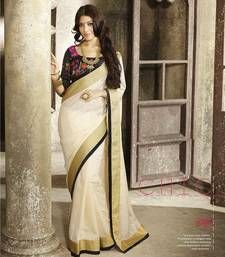 Buy Cream  plain art-silk saree with blouse bhagalpuri-silk-saree online