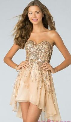 116.88$  Watch now - http://vivjg.justgood.pw/vig/item.php?t=zqpgjq45236 - Sherri Hill Sequin Dress strapless beige nude Short Cocktail Formal prom sz 2 116.88$