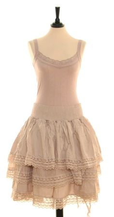 tea stained lace petticoat and cami.