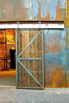 old industrial warehouse door - Google Search Industrial Interiors, Industrial Door, Industrial Apartment, Industrial Farmhouse, Industrial Bedroom, Industrial Living, Industrial Wallpaper, Industrial Shelving, Industrial Office