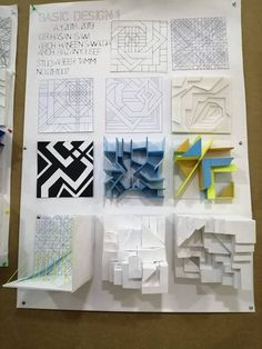 Abeer Tamimi‎Basic Design 1 nine squares Conceptual Model Architecture, Architecture Model Making, Architecture Concept Drawings, Paper Architecture, Architecture Sketchbook, Futuristic Architecture, Architecture Design, Paper Art Design, Design Art