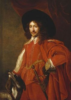 """""""Man in Red Cloak"""" attributed to Luigi Gentile (1630-1645) in the Royal Collection, UK - From the curators' comments: """"Three-quarter-length portrait of a man, facing half to the left, looking to the viewer; left hand rests on hip, his right on the neck of his hound, lower left. Wearing a red outfit and cloak with a git belt, sword, brown gloves and a black hat"""""""