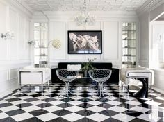 Black and white checkered floors provide a dreamy neoclassical feeling to an interior, as if something surreal is about to happen, and it might just be Commercial Interior Design, Commercial Interiors, Floor Design, House Design, Black And White Living Room, Black White, White Chic, Checkered Floors, Floor Patterns