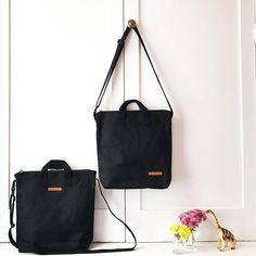 af7f85df14 blank black canvas tote bag with zipper for kids and adults.  Regram via