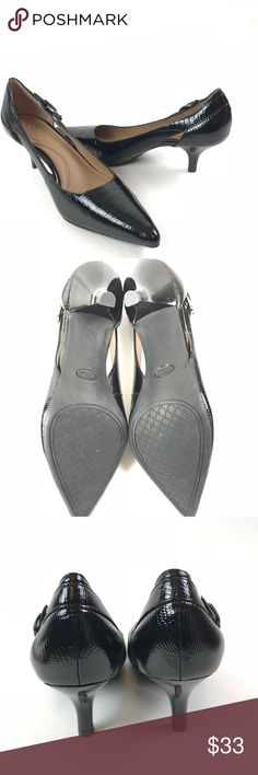 Circa Joan & David shiny black Pointed Toe heels Circa Joan & David Womens SZ 8.5M Callalily shiny black work Leather Pointed Toe  Heel height: about 2-2.5 inches short  Please review all photo's before purchasing!  All questions are welcome!  Fast Shipping!!  Thanks for stopping by! Joan & David Shoes Heels