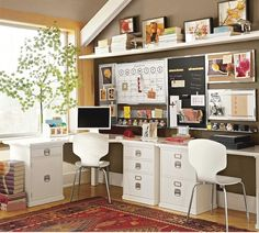 The L shaped desks and the raised shelf on the wall would be a great space-saver!