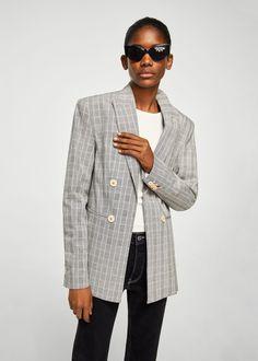 Double-breasted check suit blazer - Women 922e1164785f8