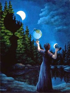 ILLUSN.com: Creating Lunar Phase Illusion..... Shadow of globe on trees and the Moon....? Matching the Shadow of globe on Tree Bushes with Lunar Phase creates an illusion... Nice concept and artwork.