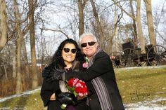 Fun at a secret elopement wedding at The Little Log Wedding Chapel in Niagara
